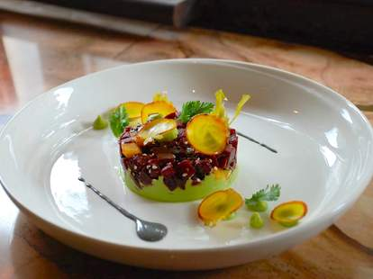 Tamari-marinated and roasted beets, mango, avocado at Avant Garden NYC
