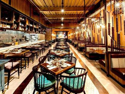 Imperial Lamian interior tables main dining room with a massive open kitchen chinese chicago