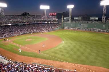 fenway park baseball game at night