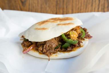 Xian Famous Foods spicy cumin lamb burger