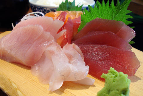 sashimi at a sushi restaurant