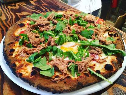 Numero 28 Pizzeria ulled pork, egg, arugula pizza on the Upper West Side