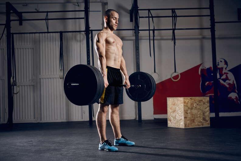 barbells, man lifting barbells, deadlift workout