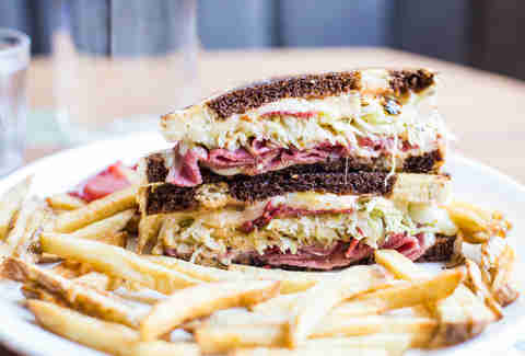 beef tongue reuben at Pinewood Social