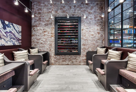 Haven Spa exposed brick lounge chairs soho nail polish wall