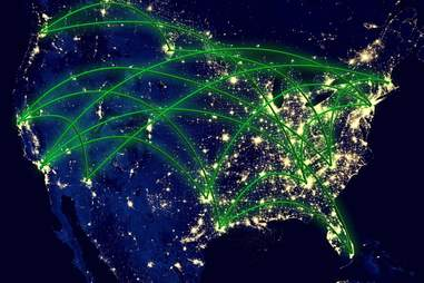 United States network night map earth from space