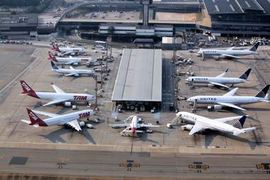 airplanes docked at an airport