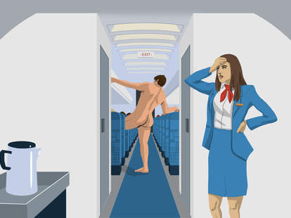 a flight attendant annoyed at a naked customer