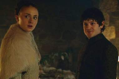 Sophie Turner as Sansa Stark and Iwan Rheon as Ramsay Bolton in HBO Game of Thrones