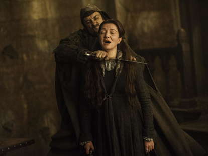Michelle Fairley as Catelyn Stark at the Red Wedding in HBO Game of Thrones