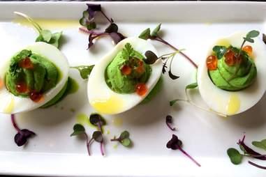 microgreens, deviled eggs, avocado