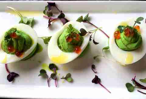 microgreens, deviled eggs, avocado