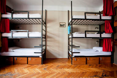Hostel dormitory bunk beds europe travel