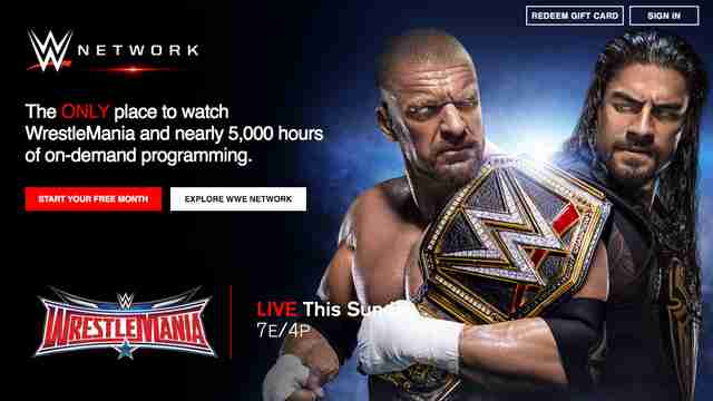 wwe website homepage network