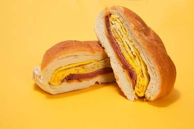 taylor ham, egg, and cheese on a roll