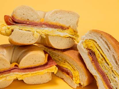 taylor ham egg and cheese on a bagel and roll
