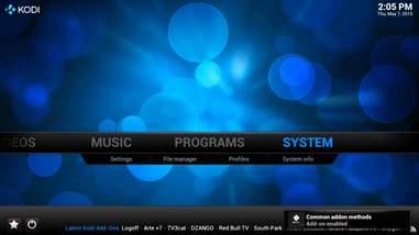 screenshot of kodi set up computer