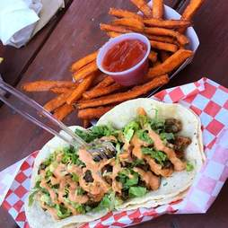 Arlo's tacos in red basket