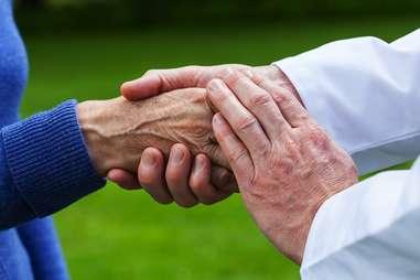 Hand of elderly person
