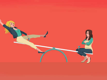 illustration of a blonde and brunette on a seesaw