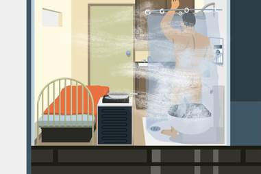 illustration of a man showering in a micro studio