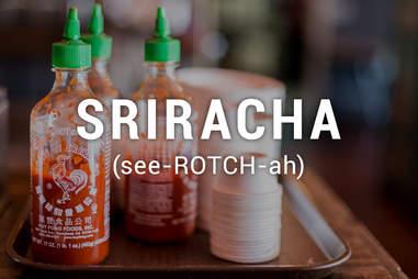 Sriracha bottles