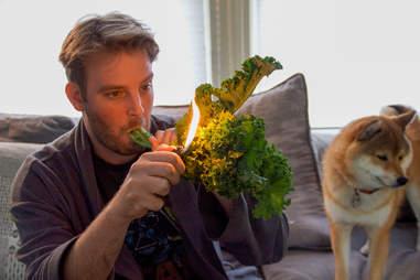 smoking kale