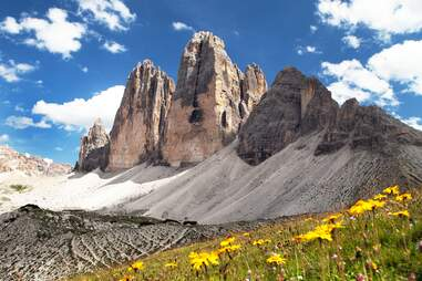 Tre Cime di Lavaredo mountains in Italy