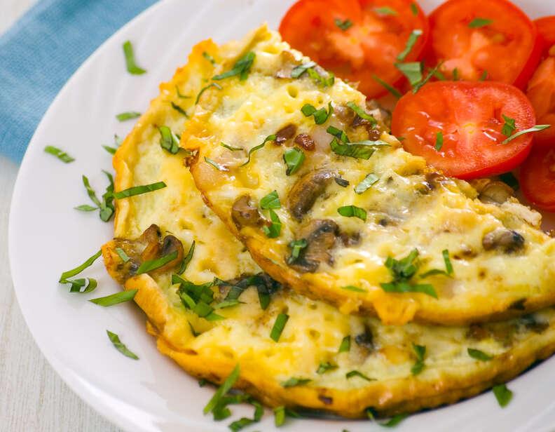 egg white omelet with mushrooms