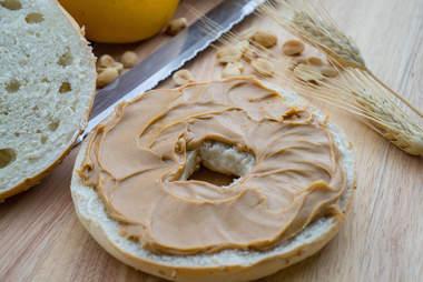 peanut butter, peanut butter bagel, bagel
