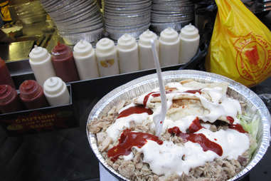 white sauce on halal platter