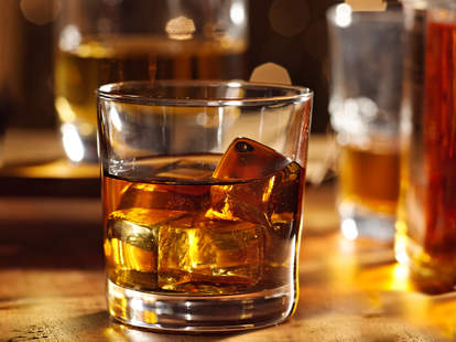 whiskey in a glass at a bar