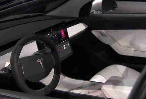 The interior of the Tesla Model 3 is its most avant garde design