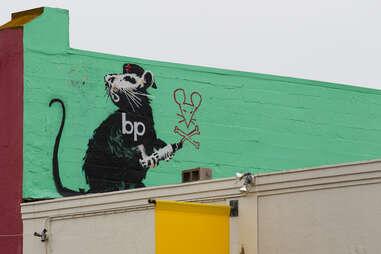 Altered banksy mural