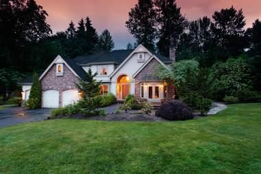 suburban house green lawn