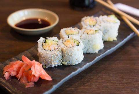 sushi with ginger and soy sauce