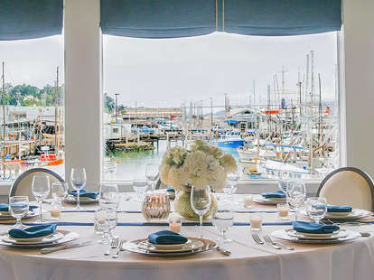 Dining Table with View of Fisherman's Wharf at Alioto's