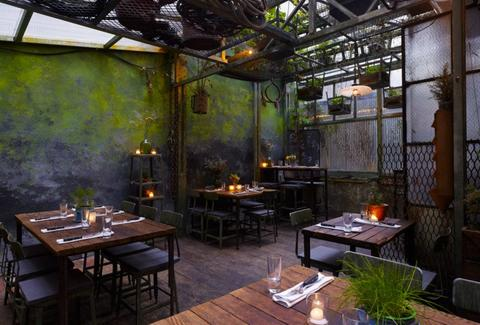 Edi & the Wolf patio green walls industrial rustic thrillist new york