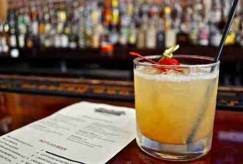 Bourbon sour, Cornerstone Barrel House, downtown Detroit, Michigan
