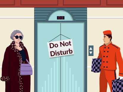 Do Not Disturb sign on hotel elevator, having sex in a hotel
