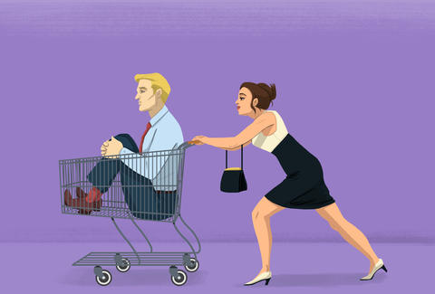 illustration of woman pushing man in shopping cart