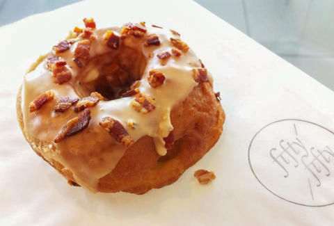 Bacon Maple Apple Donut at fifty/fifty
