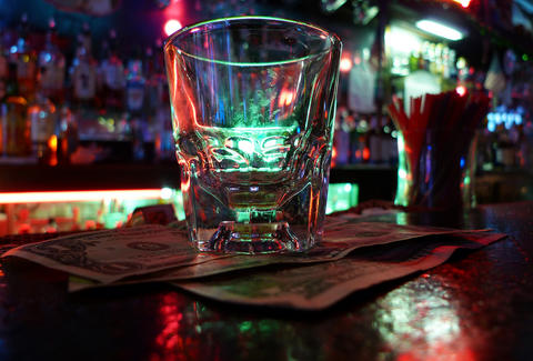 shot glass at dive bar