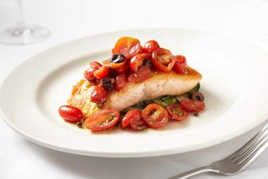 Salmon with roasted tomatoes at Italian Village