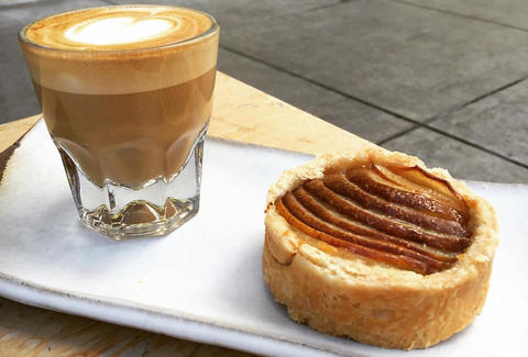 Latte and Sticky Bun at Piccino Coffee Bar