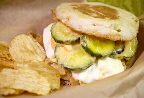 EARL'S BEER AND CHEESE pickles mozzarella chips english muffin thrillist new york