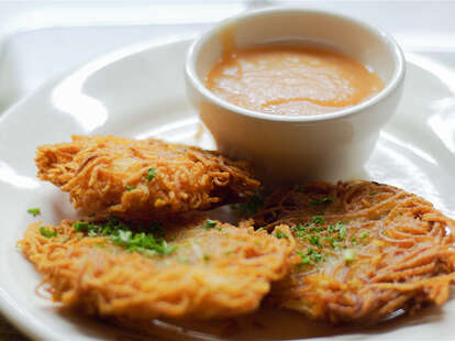 Potato Pancakes with Applesauce at Suppenküche