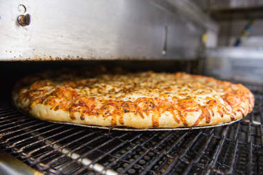pizza in oven