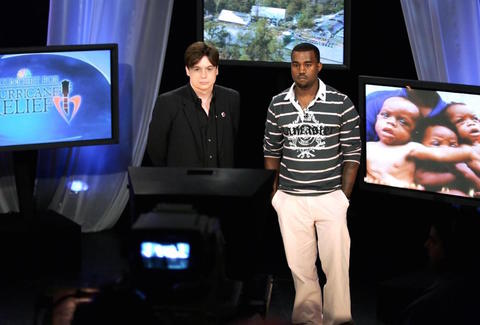 Kanye West and Mike Myers During Hurricane Katrina Benefit