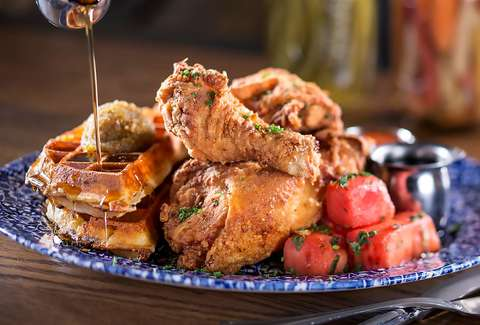 chicken and waffles from Yardbird